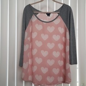 Torrid gray and pink heart top